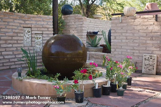 1208597 Propane Tank Fountain W Adeniums In Containers Adenium Hyb Plants For The Southwest Nursery Tucson